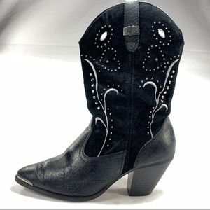 Dingo Studded Black Suede Women's Western Boots